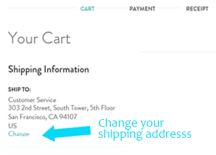 Changing your shipping address in the Cart