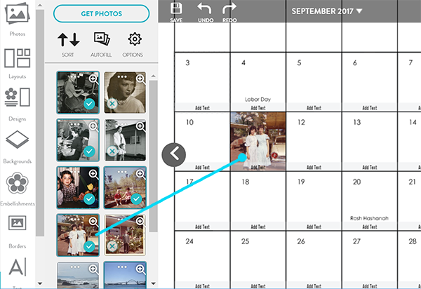 Adding a photo to a specific date