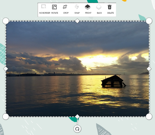Photo move mode, for moving and resizing photos, text and embellishments
